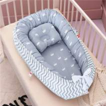 Abreeze Baby Bassinet for Bed Grey Crown Baby Lounger Crib Breathable & Hypoallergenic Co-Sleeping Baby Bed 100% Cotton Portable Crib Pillow for Bedroom/Travel/Camping