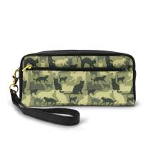 AHOOCUSTOM Cute Cats Camouflage Pattern Leather Makeup Pouch Bag, Elegant Toiletry Cosmetic Bags Organizer Case With Gold Zipper Pencil Case For Women Men Girls Boys