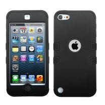 MYTURTLE iPod Touch 7th 6th 5th Generation Case Shockproof Hybrid Hard Silicone Shell Impact Cover with Screen Protector for iPod Touch 7 (2019), iPod Touch 5/6 (2015), Rubberized Black Black