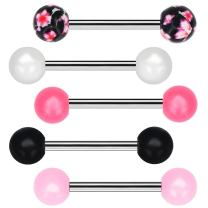 COCHARM Tongue Barbells 5pcs Candy Color with Flower Pattern Tongue Barball Piercing Body Jewelry Tongue Rings