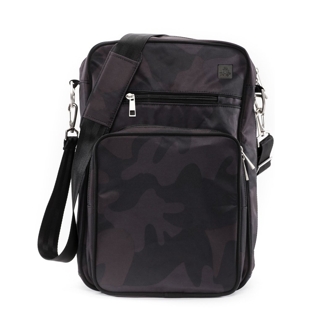 JuJuBe Helix Multi-Functional Crossbody Messenger/Diaper Dad Bag, Onyx Collection - Black Ops