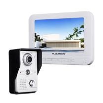 FLOUREON 7 Inch Video Doorbell Phone System, Clear LCD Monitor Wired Video Intercom Doorbell Kits, Night Vision Camera Door Bell Intercom, Doorphone Telephone Style for Home Improvement(White)