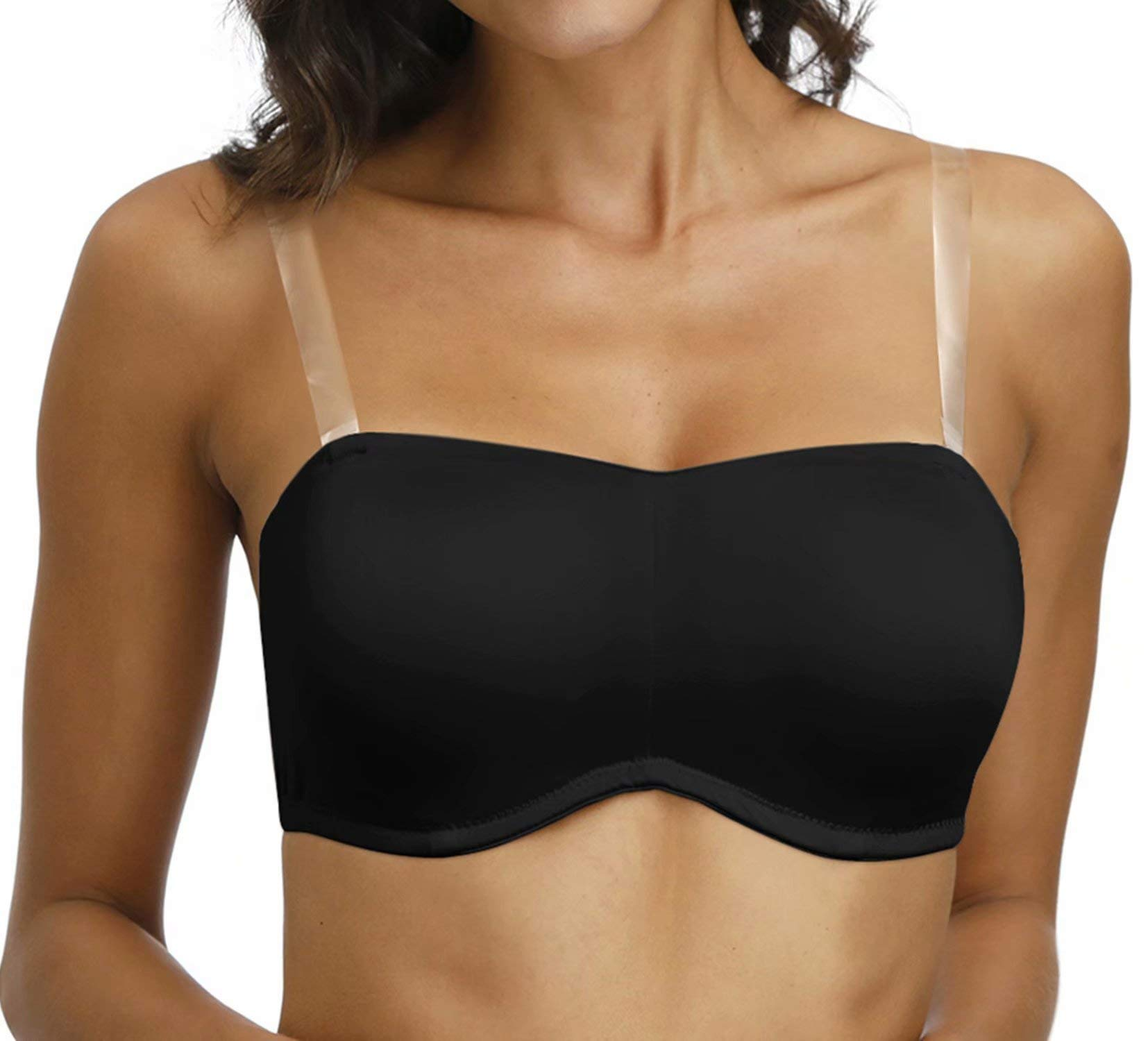 Vgplay Women's Strapless Minimizer Bra with Clear Straps and Removable Pads Smooth Convertible Bras Plus Size