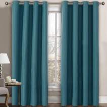 Linen Blackout Curtain 108 Inches Long for Bedroom / Living Room Thermal Insulated Grommet Linen Look Curtain Drapes Primitive Textured Burlab Effect Window Drapes 1 Panel - Aegean Blue