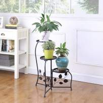 DAZONE Black 3-Tiered Indoor/Outdoor Plant Stand, 11 Inch in Height - Holds 3-Flower Pot