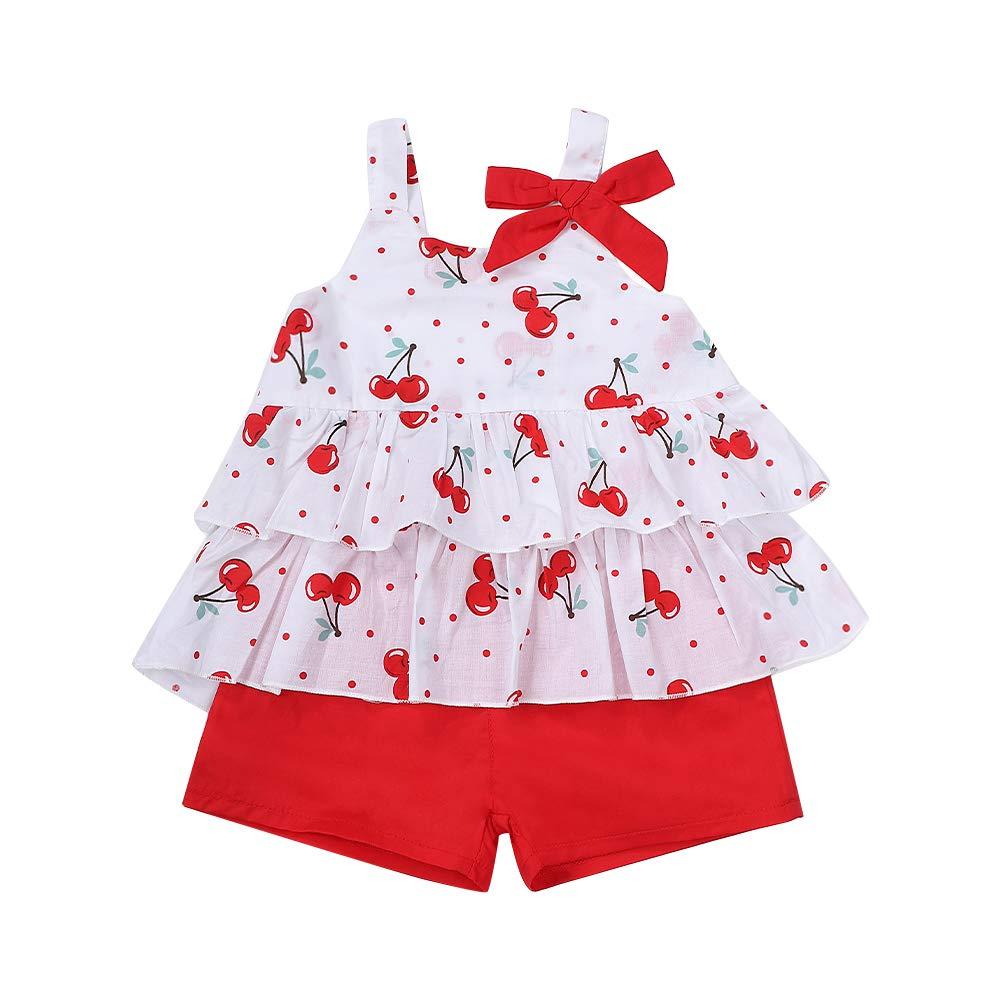 2Pcs/Set Toddler Kids Baby Girls Summer Clothes Halter Crop Strap Tops + Floral Ruffle Shorts Summer Outfits Set