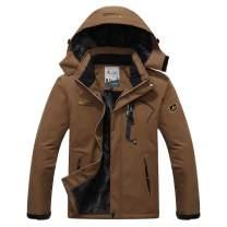 Susclude Men's Fleece Snowboarding Jacket Winter Windproof Mountain Jacket Fleece Lined Warm Hooded with Multi-Pockets