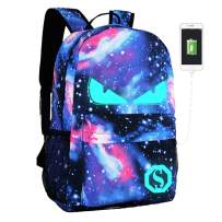 Lmeison Anime Backpack, Luminous Backpack for Boys Girls, Galaxy School Bookbag with Pencil Case, Charging Laptop Bag for 15.6inch Laptop, Waterproof Travel Daypack College Student Rucksack