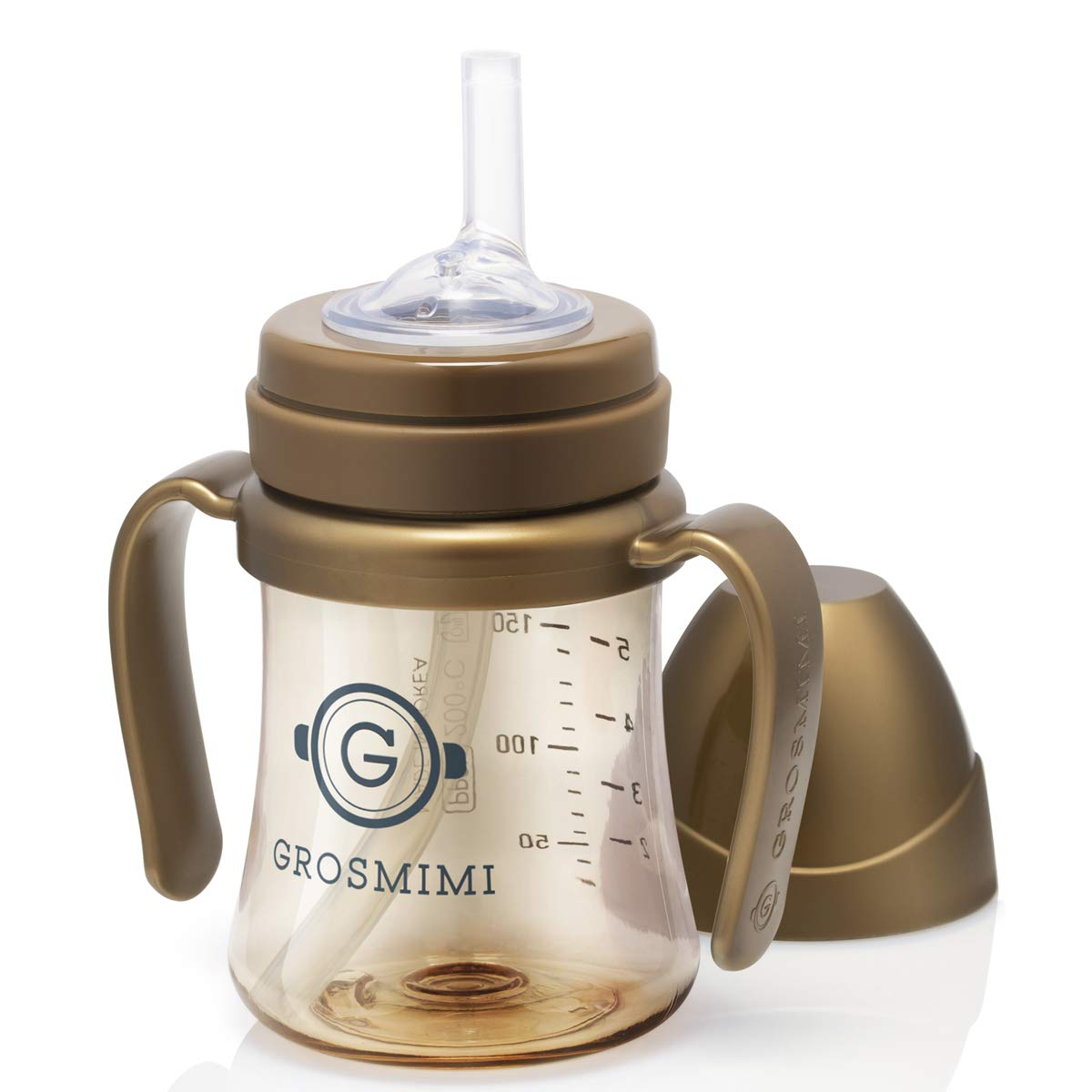 Grosmimi Spill Proof no Spill Magic Sippy Cup with Straw with Handle for Baby and Toddlers, Customizable, PPSU, BPA Free 6 oz (Golden Brown)