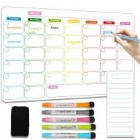 "SUNTA Magnetic Dry Erase Monthly Calendar for Fridge, 17""x 12"" Magnetic Soft Calendar Whiteboard Set with to Do List & 5 Magnetic Marker Pen & 1 Magnetic Eraser, Great for Kitchen Refrigerator Office"