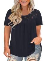 ROSRISS Womens Plus-Size Tops Lace Summer T Shits Pleated Tunics XL-4XL