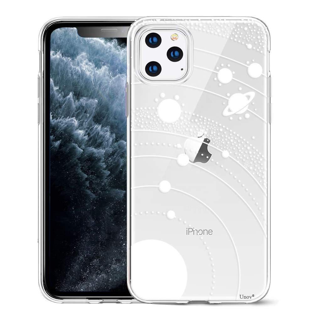 Unov Clear with Design for iPhone 11 Pro Case Slim Protective Soft TPU Bumper Embossed Pattern Cover 5.8 Inch (White Universe)