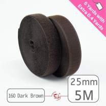 """25mm(1"""") Width 5 Pair Yards Sew-On Hook&Loop Fastener Tape for 12 Colors (#160 Dark Brown)"""