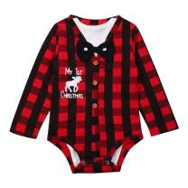 itkidboy Newborn Baby Boys Christmas Outfit My First Christmas Bodysuit Xmas Plaid Romper