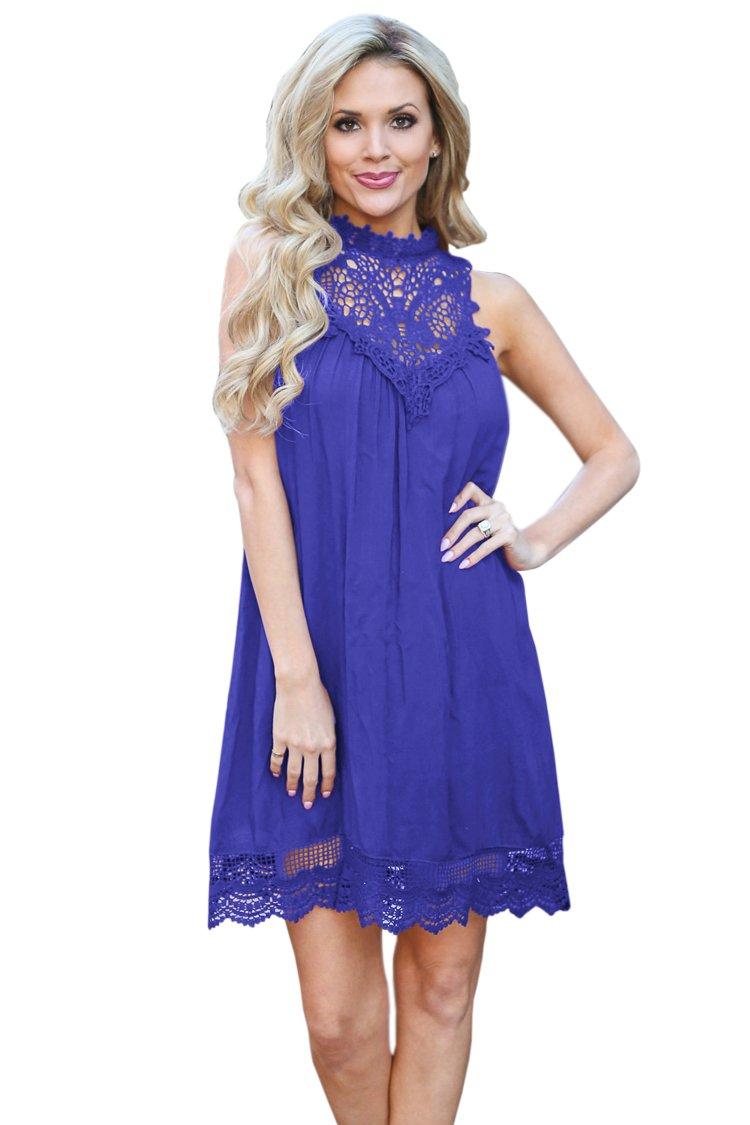 BLAU GRUN Women's Sleeveless Lace Patchwork Loose Casual Mini Cotton Dress Purple-S