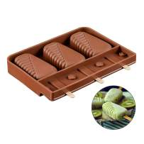 Rolin Roly Reusable Ice Cream Moulds Homemade Popsicle Molds Shapes Silicone Frozen DIY Ice Pop Maker with 10 Wooden Sticks
