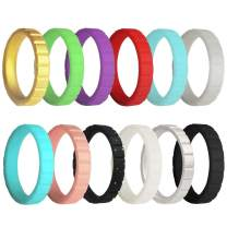 EMBNN Silicone Wedding Ring for Women Men, Thin, Affordable and Stackable Silicone Wedding Bands for Sports, Workout, Fitness, Gym, Exercise, Multiple Colors, Size: 4-10, Width: 3.0mm