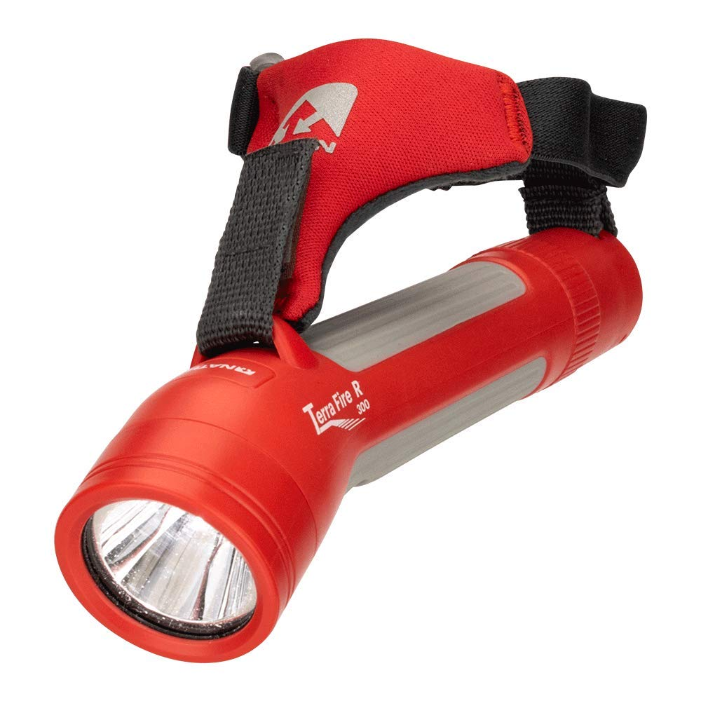 Nathan Grip-Free Running FlashLight with Emergency Whistle. Hand Held Torch Terra Fire 300 R. LED Light for Runners, Walkers, Cyclist, Kids, Security. Handheld uses 2xAA Batteries