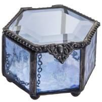 Blue Glass Box Jewelry Small Trinket Case Keepsake Display Decorative Vanity Organizer Ring Dish Stained Glass Gift J Devlin Box 850