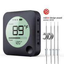 Wireless Grill Thermometer, Bluetooth Meat Thermometer, Digital BBQ Meat Thermometer for Grilling Smoker Oven Kitchen Food Cooking, Smart APP Alarm Monitor Instant Read with 4 Stainless Steel Probes