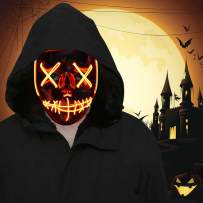 FLY2SKY 1PCS Halloween Mask Light Up Toys Red LED Light Up Mask LED Mask Glowing Mask Frightening Luminous Halloween Cosplay LED Purge Mask for Festival Entertainment Halloween Party Favors for Kids