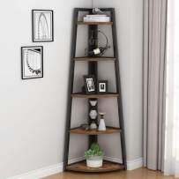 Tribesigns 70 inch Tall Corner Shelf, 5 Tier Rustic Corner Bookshelf Industrial Small Bookcase Corner Ladder Shelf Plant Stand for Living Room, Kitchen, Home Office