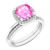 Dazzlingrock Collection 10K 7 MM Cushion Lab Created Gemstone & Round Diamond Ladies Engagement Ring Set, White Gold