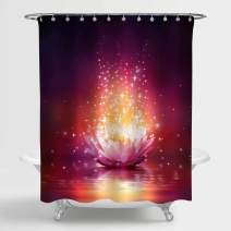 Magic Lotus Flower Floating on Water Decorative Shower Curtain Set with Hooks, Asian Zen Design Home Decor for Meditation and Resort Spa, Pink Bathroom Accessories for Women Gifts, 72 W x 72 L inches
