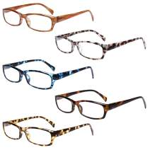 5-Pack Reading Glasses Blue Light Blocking Anti Eyestrain Computer Reading Glasses for Women and Men Readers