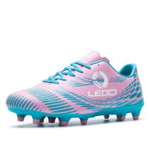 LEOCI Men's Women's Firm Ground Soccer Cleats Outdoor/Indoor Boys Girls Professional Futsal Football Training Sneakers