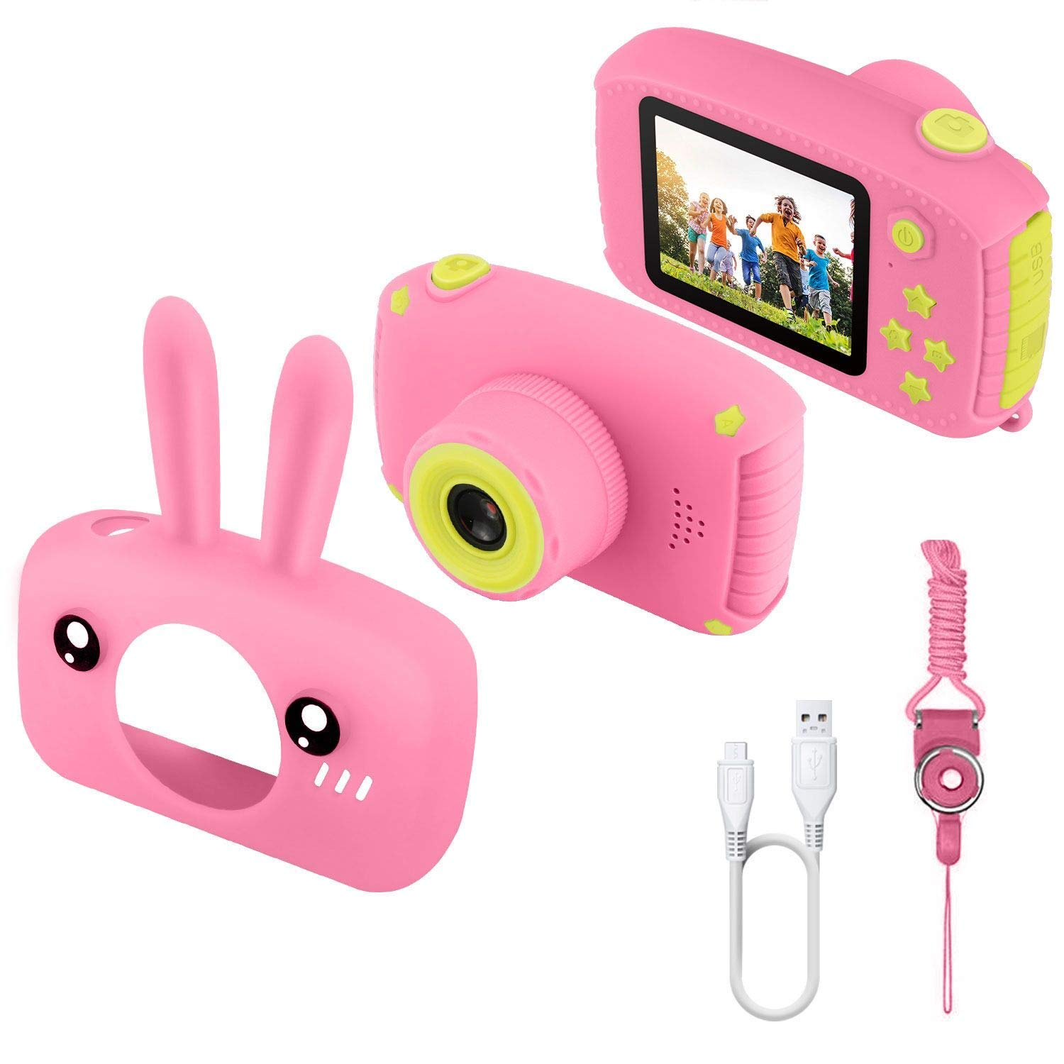 JAMSWALL Kids Camera for Girls,12MP 1080P FHD Digital Video Camera with 28 Funny Filters, Soft Silicone Cute Shell for 3-14 Years Kids