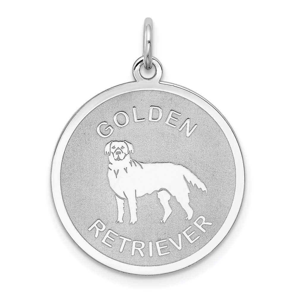 925 Sterling Silver Golden Retriever Disc Pendant Charm Necklace Animal Dog Engravable Round Fine Mothers Day Jewelry For Women Gifts For Her