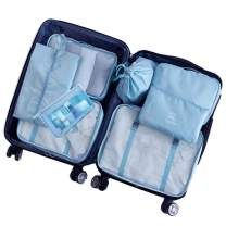 8 Piece Packing Cubes - WantGor 6 Suitcase Organiser Luggage Compression Pouches + 1 Shoes Bag + 1 Toiletry Bag (2#Blue)