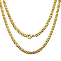 Jewelry Kingdom 1 Necklace for Men, 24K Gold Cuban Link Chain Necklace for Women, 4MM Stainless Steel Curb Chain Choker for Boys and Bikers 16-30inches