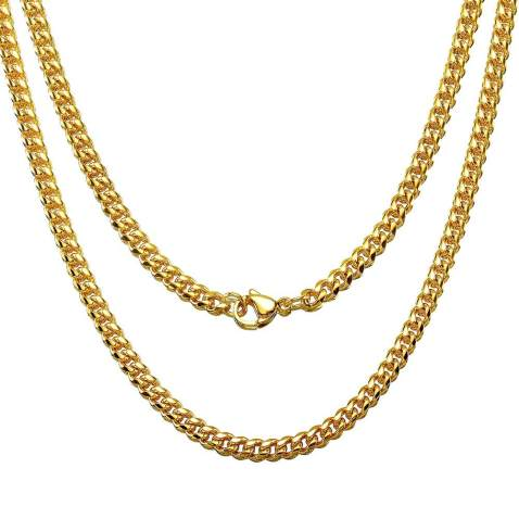 gift for him,gold chain mens jewelry 4 mm chain curb chain mens necklace stainless steel chain Chain for man boho chain for woman