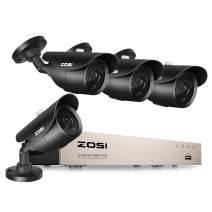 ZOSI 1080P Home Surveillance Camera System, 4 Weatherproof 1080P 2.0MP HD Security Cameras,8 Channel 1080P HD-TVI 4-IN-1 CCTV DVR Recorder, 120ft night vision, NO Hard Drive (Renewed)