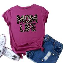 Mom Life Shirts Mama Short Sleeve T-Shirt Femme Leopard Printed Vintage Tops for Women