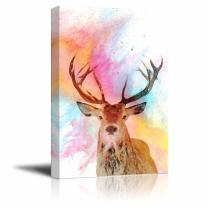 wall26 - Animal Theme Canvas Wall Art - A Deer on Watercolor Style Background - Giclee Print Gallery Wrap   Modern Home Decor Stretched & Ready to Hang - 16x24 inches