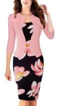 HOMEYEE Women's Vintage Colorblock Business Pencil Dress B237