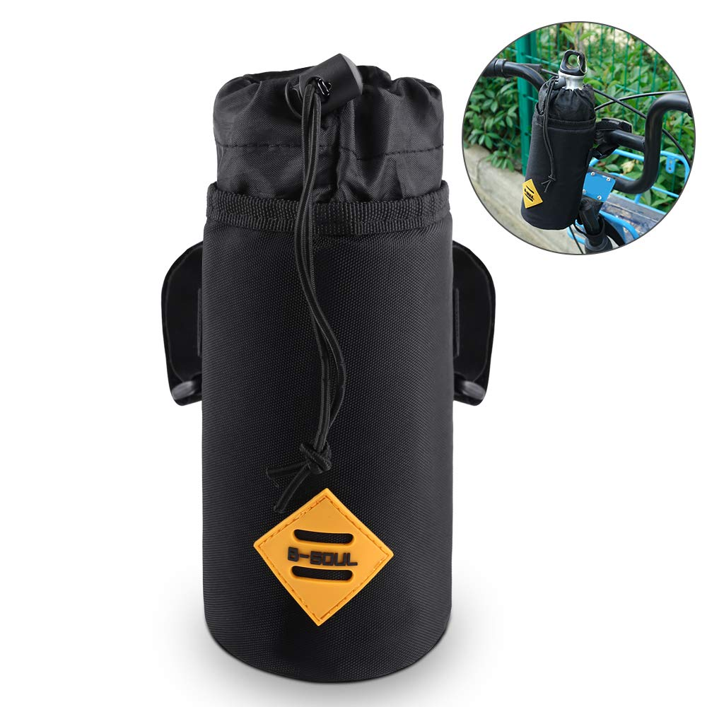 Bike Water Bottle Holder Insulated Stem Bag Bicycle Water Bottle Cages Handlebar Attachment Cup Holder Food Snack Storage for Huffy, Mountain Bike, Pushchair
