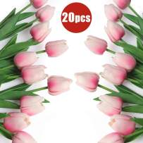 RECUTMS 20 Heads Pink Artificial Tulips Flowers Faux Tulip Stems PU Real-Touch Tulips for Mothers Day Wedding Decor DIY Home Party (Pink)