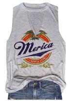 HDLTE Women Merica Since 1776 Tank Tops Sleeveless Racerback T-Shirt Vest