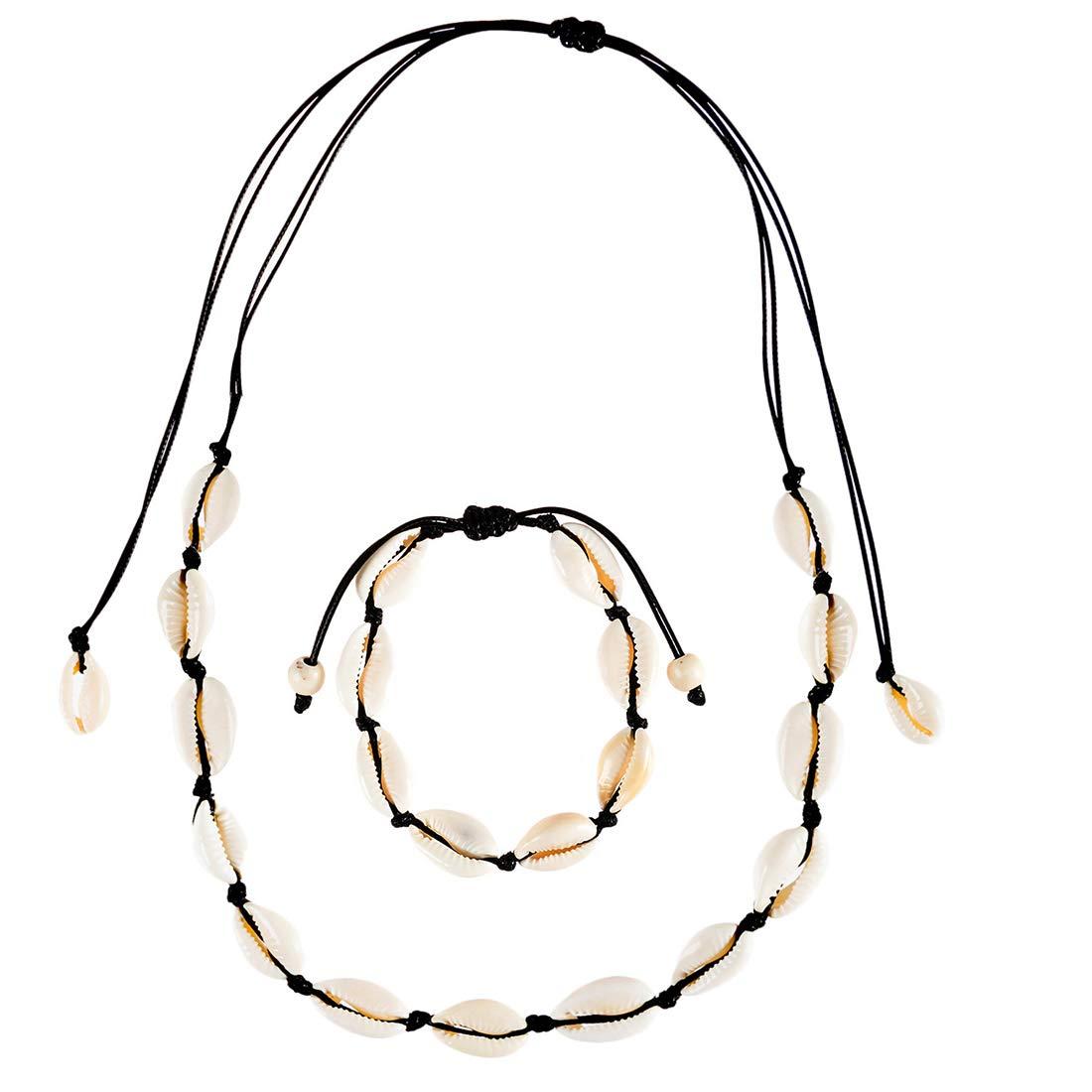 Abitoncc Natural Shell Necklace Bracelets Cord Beach Puka Sea Shell Pearl Choker Handmade Adjustable for Girls Women Jewelry