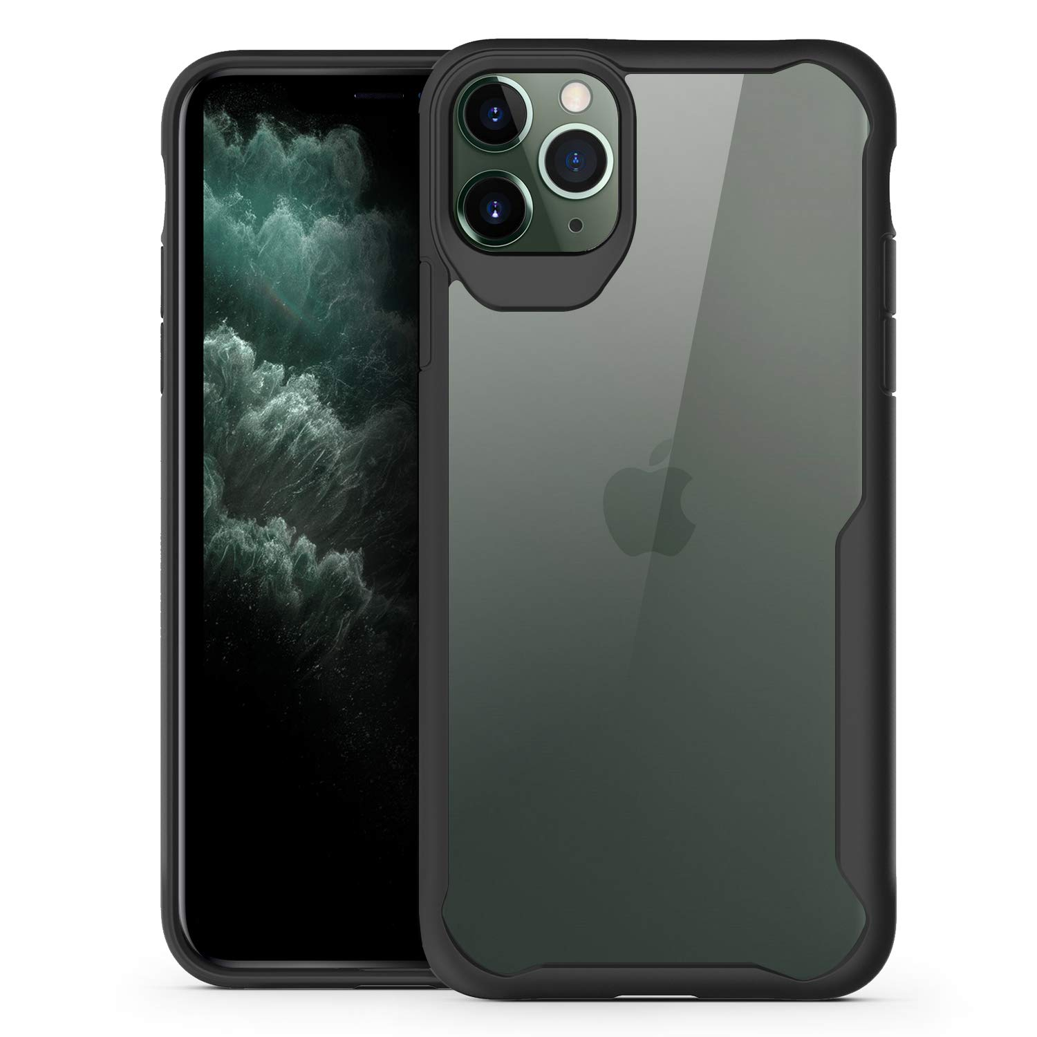 Olixar for iPhone 11 Pro Bumper Case - Shockproof Transparent Bumper Cover - Hard Slim Frame with Air Cushion Protection - Anti-Scratch Clear Back - NovaShield - Black