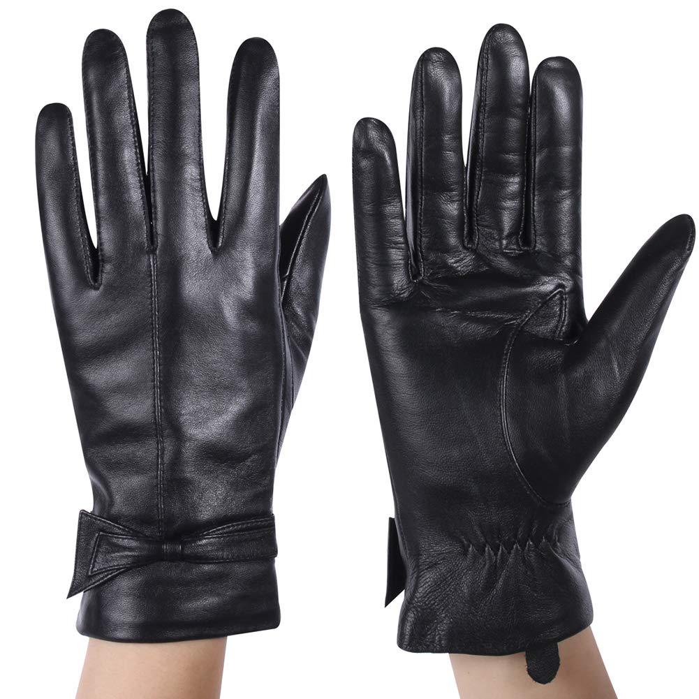 Molemsx Women Touchscreen Texting Nappa Leather Glove Winter Warm Plain Wool Blend Lined Gloves