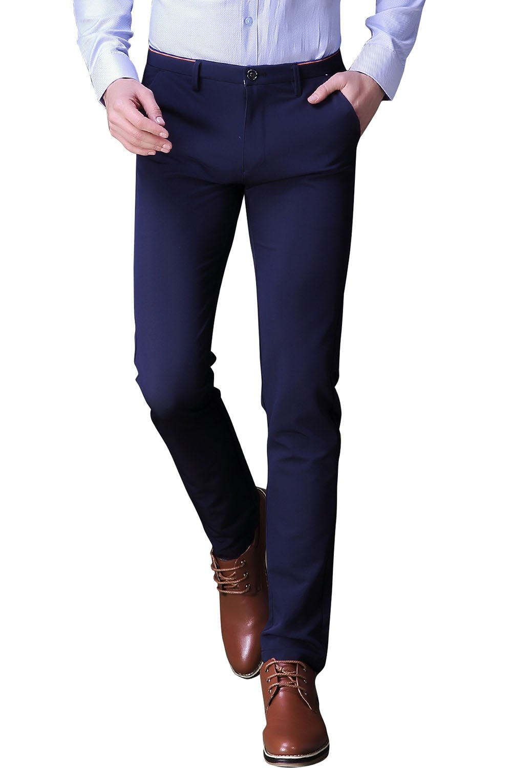 INFLATION Mens Wrinkle-Free Casual Pants Slim-Tapered Stretch Dress Pants, Flat Front Suit Pants