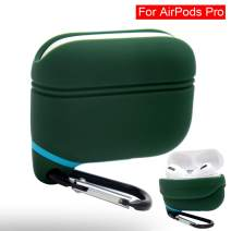 iCoolmate AirPods Pro Case Waterproof Upgraded Anti-Lost Dust-Free Silicon Protective Cover (Green)