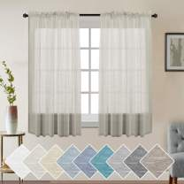 Natural Linen Blended Window Curtain Panels Privacy Sheer Window Curtains for Living Room - Rod Pocket Linen Curtains/Natural Linen Blended Sheer Panels for Bedroom(Set of 2, Natural,W 52 x L 63 )