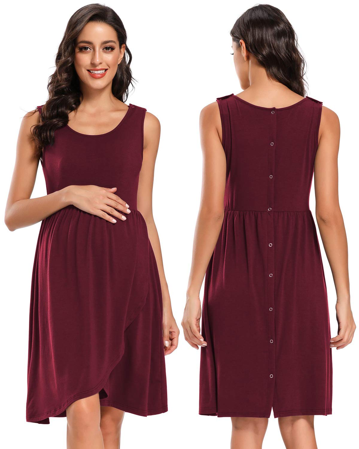 BBHoping Women's 3 in 1 Delivery/Labor/Nursing Nightgown Maternity Hospital Gown/Sleepwear for Breastfeeding