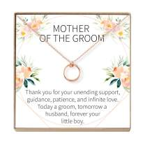Dear Ava Mother of The Groom Gift Necklace: Parent of The Groom Jewelry, 2 Linked Circles (Rose-Gold-Plated-Brass, NA)